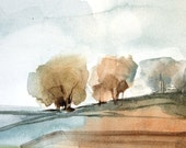 Orchard Fog Original Watercolor Painting