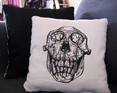 Chimpanzee Skull Throw Pillow