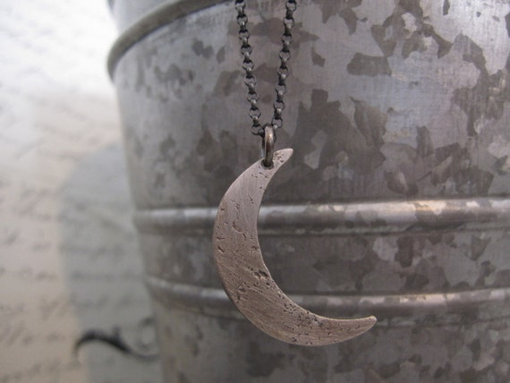 Artemis Necklace: Oxidized Sterling Silver Crescent Moon Necklace