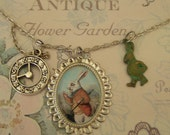 Alice in Wonderland  Charm  Necklace - I am Late - Delightful Whimsical White Rabbit Cameo in Antique Silver and Verdis Bunny, Pocket Watch