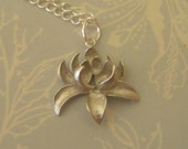 LOTUS BLOSSOM - Fabulous Silver ( Rhodium white gold) Three Dimensional Flower with Awsome Matte Finish on Sterling Silver Chain