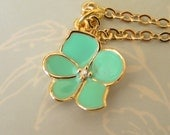 Fabulous High Quality Detailed Enamel Orchid Flower in Seafoam (Pale Blue Green) 16K Gold Plate Clear Cubic Zirconia  on Awsome Chain