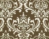 Shower curtain damask brown and beige 72 x 72 inches made to order