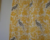 Pair of curtain drapery panels, UNLINED, corn yellow with taupe barber bird on white,  50 X 84 inches,