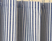Classic ticking stripe shower curtain, navy blue and creamy ivory cotton
