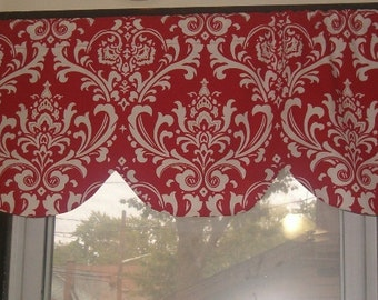 Scallop window curtain valance, 42 x 16 inches, Red and white damask RTS