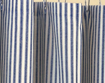Classic Ticking Stripe Shower Curtain, Navy Blue, And Ivory, Cotton