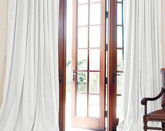 Pair two 100W panels extra wide, double width, curtain panel 100% linen, 100W inches WHITE unlined