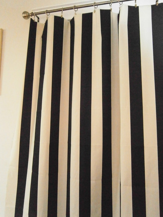 Pair of curtain drapery panels unlined 50 x 84 inches Bold black and white striped curtains