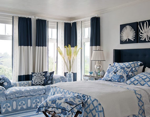 designer curtain panels color block linen navy blue and off white