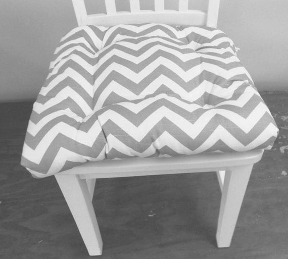 Tufted Chair Pad Seat Cushion Zig Zag Chevron Ash Gray And