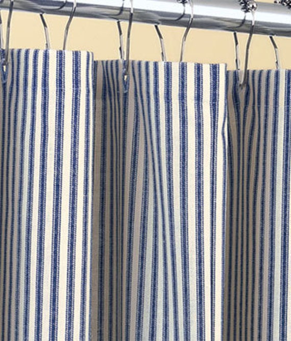 dark blue shower curtain. Like this item  Classic ticking stripe shower curtain navy blue and ivory