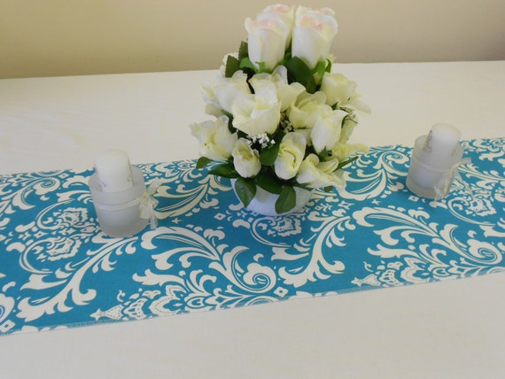One dozen wedding party table runners, turquoise blue and white damask fabric, 72 x 13 inches, tablerunners