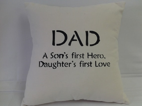 gift for Dad, Hand stencil pillow 14 inches square, natural, cotton, love, family