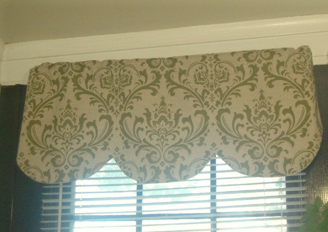 Set Of 4 Valances Olive Green Damask Pattern On A Oatmeal