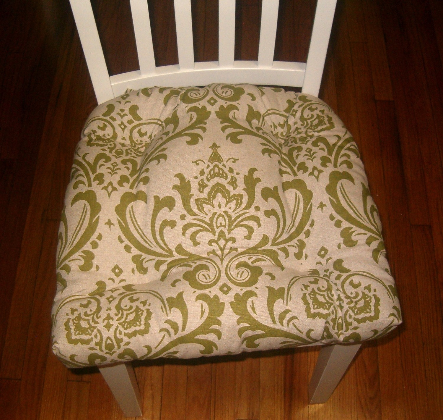 Set Of 4 Olive Green Damask Chair Pads Tufted Seat Cushion