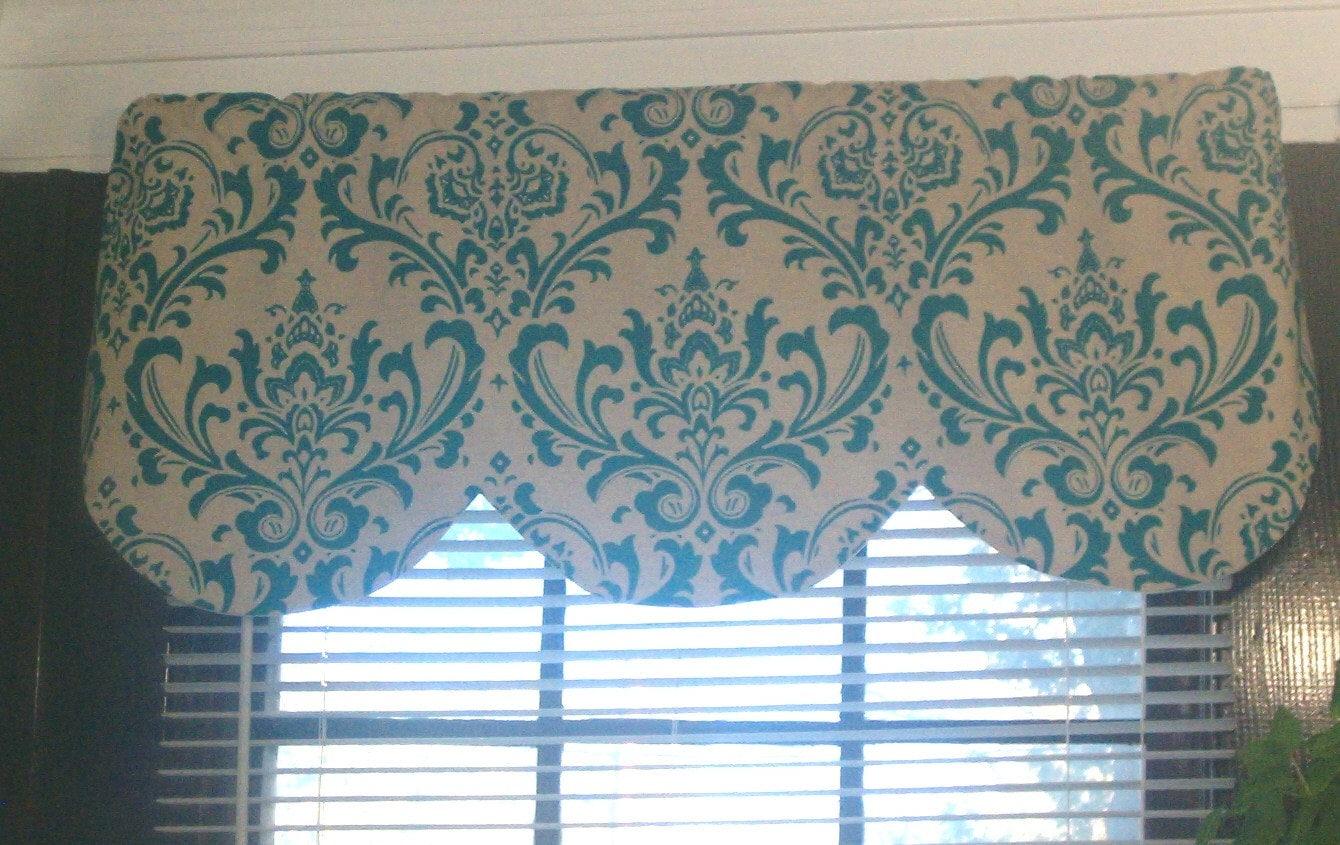 Window Curtain Valance Damask Turquoise Blue Beige Linen