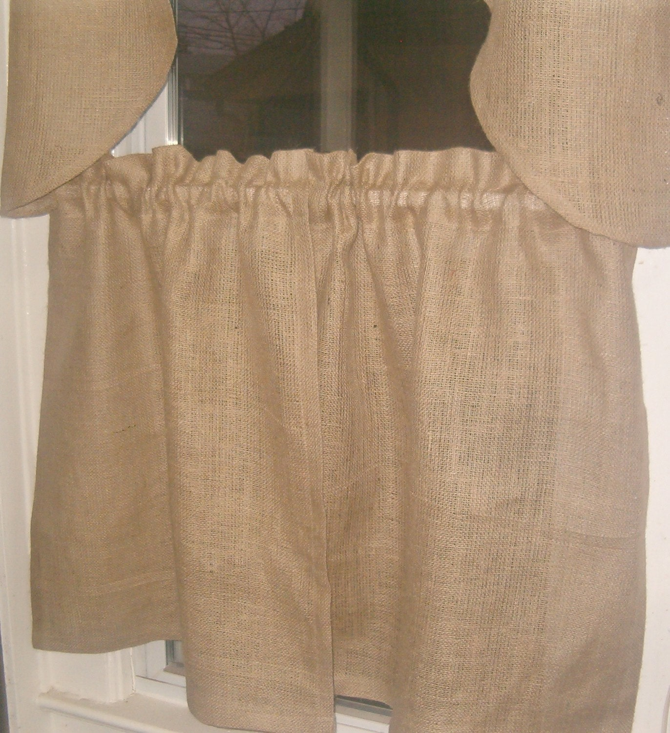 Pair Of Burlap Kitchen Curtain Panels Total Width By