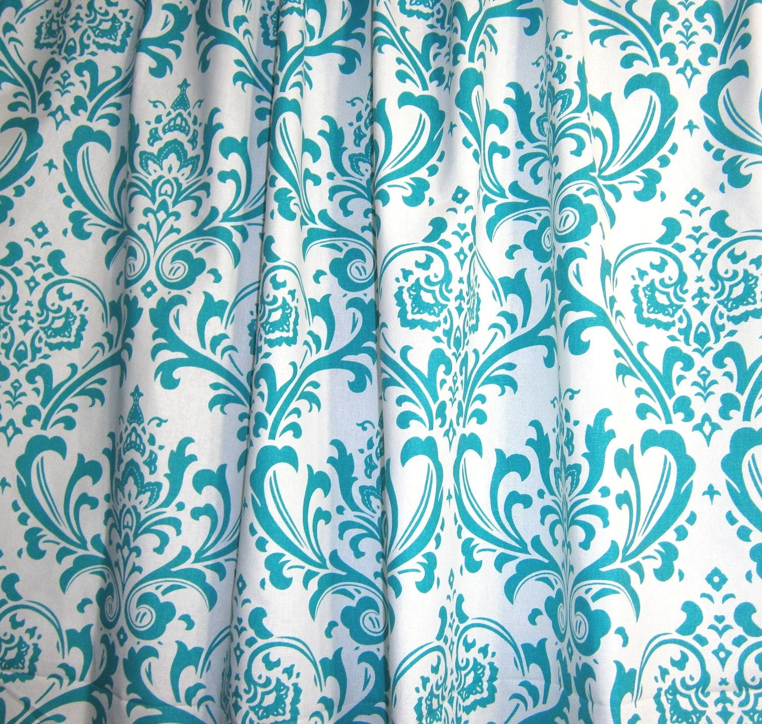 One curtain panel unlined turquoise blue and white premier for Blue and white drapery panels
