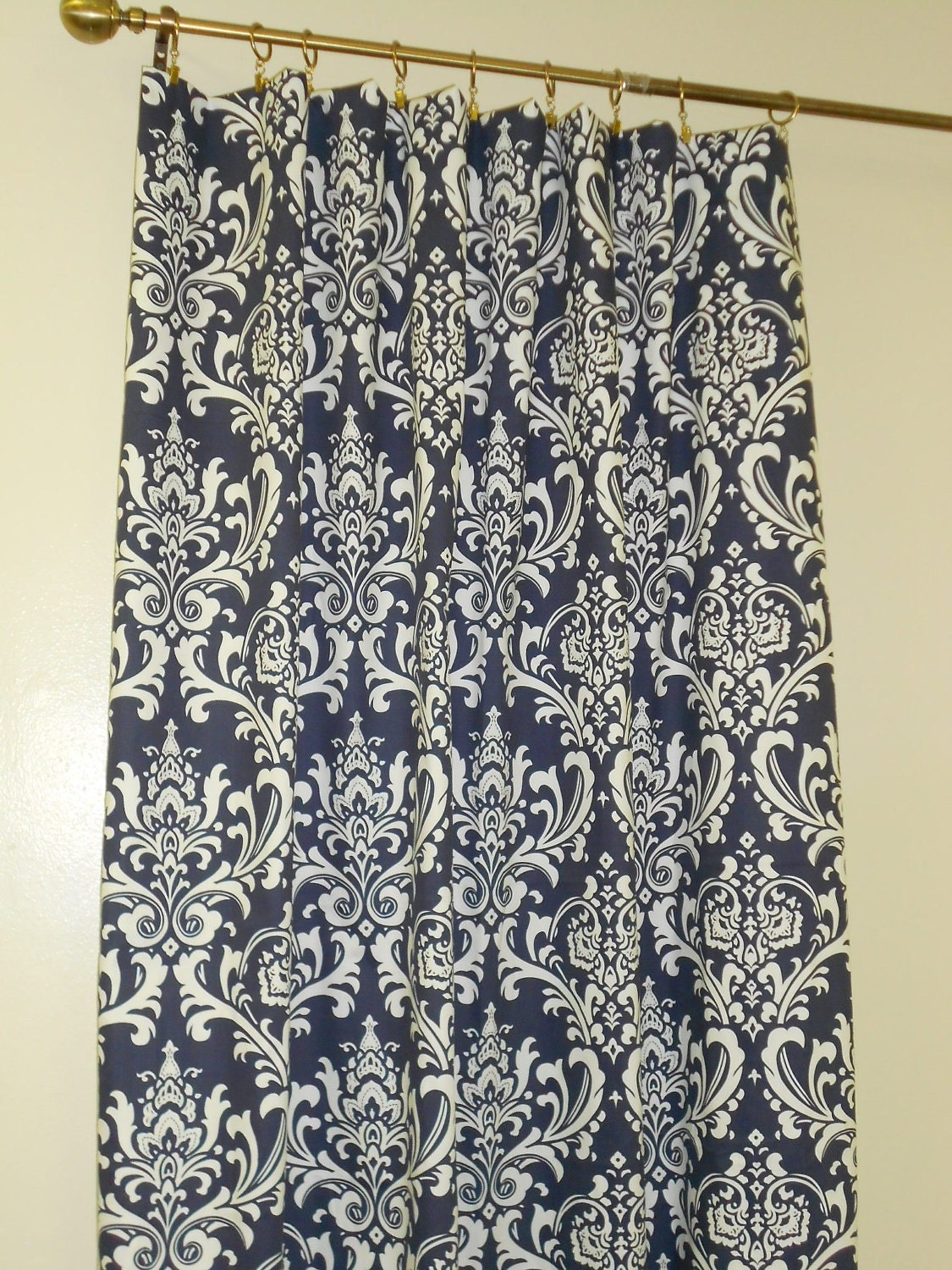 Pair Of Curtain Panels Drapes Lined With Poly Cotton Navy