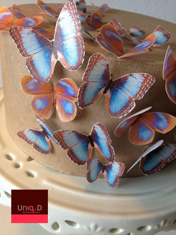 20 precut RAINBOW butterflies decoration - FREE SHIPPING - Assorted set 20 wedding cake toppers - Food Accessories by Uniqdots on Etsy