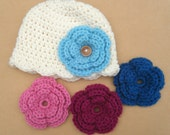 Cream Newborn Hat with Changeable Flowers