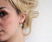 Green Glass Pressed Heart Earrings