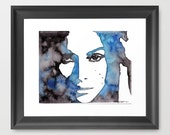 Emotional Girl Watercolor Print - Black and Blue