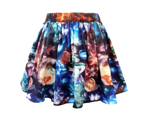SALE. Planet Skirt.  Galaxy Print Clothing