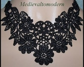 Jet Black Necklace Choker with Flower Venise Lace Victorian look Medieval Gothic Wedding Evening Art Neck Wear Tattoo Style