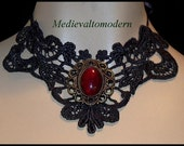 Black Red Night Elegant Venise Victorian Gothic Necklace