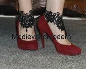 Unique Lace Ankle Art Anklet Black Venise Corset with Chess