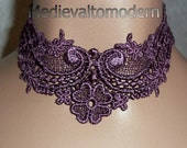 Elegant and Intricate Venise Purple Mauve Victorian Wedding Choker
