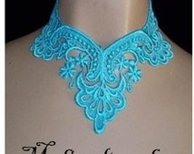 Choker In Teal  Blue Unique Scallop Soft Venise Lace Wedding Bride Bridemaid Wearable Scroll Art Romance Evening Formal Casual