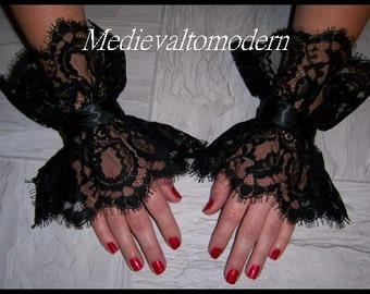 Pair of 2  Victorian Wrist Cuffs Bell sleeves Gloves Soft Lace Cuff  Wearable Art Tattoo Cover Arm Band Ruffle Romantic Evening