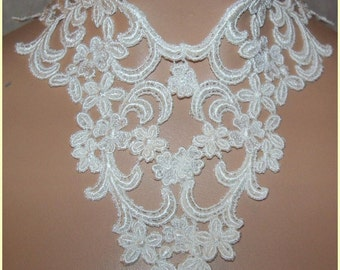 Collar Choker 6 inch WIDE White Wedding Medieval Lace Victorian Style