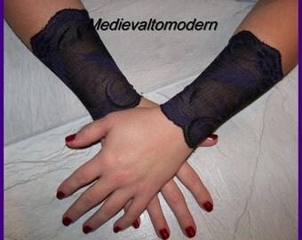 6 inch Set of  2 Soft Black with Purple Leif pattern Cuffs Bracelets