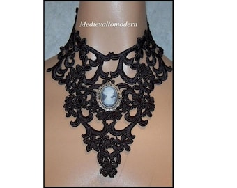 Large Black Lace Center Cameo Victorian Style Goth Choker Collar