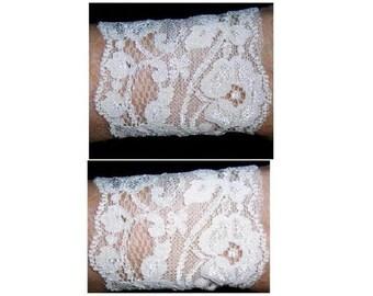 Set 2 Soft Gothic Stretch Lace Bracelets Cuffs Cosplay Wedding Ivory NEW S M L XL