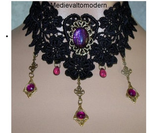 Choker by Medievaltomodern's Black Plum Wine Teardrop Venise Lace Victorian Necklace Wearable Art Runway Gothic Evening