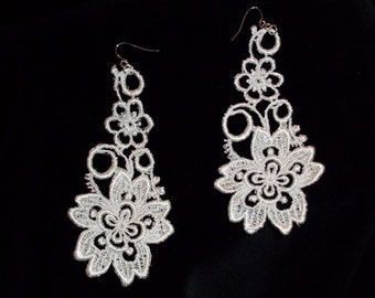 Earrings Your Color Super Long Flower Venise Lace Country
