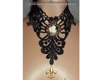 XLarge Cameo Choker Bib in Black Blue White Circle Victorian Gothic Medieval Design Fabric Jewelry