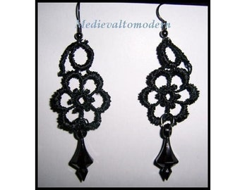 Chess Earrings in BLACK Venise Lace Victorian Gothic Look Wearable Art Elegant, Romantic, Dark Jewelry  3 inches long