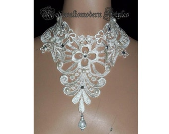 Collar Choker Victorian Wedding Cream Rhinestone Venise Wide Lace Bib Statement Beded by Medievaltomodern