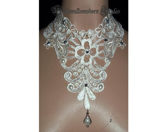Collar Choker with Hand Beaded Cream Rhinestone Victorian Wedding Night Romantic Formal Design Fabric Jewelry Wearable Art