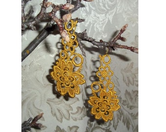 LONG Golden Flower Venise Lace Country Earrings by Medievaltomodern