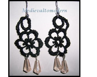 Earrings in Venise Lace Black Tan Teardrop Bead Gothic Medieval Steampunk Dangle Flower Design 2.5 inches