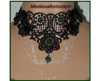 Choker in Jet Black Rose Center Green Accent Cabs and Silver Chain Necklace Wearable Evening Art