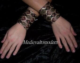 2 Wine Medieval accent Bracelets Pair Corset Tie Cuff NEW L