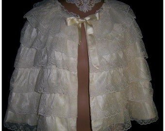 Wedding Cream Layered Lace Satin Victorian Caplet Cape Cloak One of a Kind
